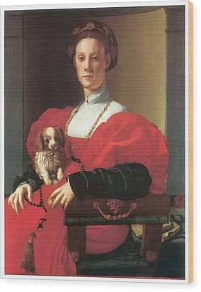 Lady In A Red Dress Wood Print by Jacopo Pontormo