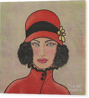 Lady In A Red Hat Wood Print by Lamarr Kramer