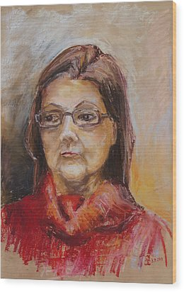 Lady In A Red Pullover Wood Print by Barbara Pommerenke