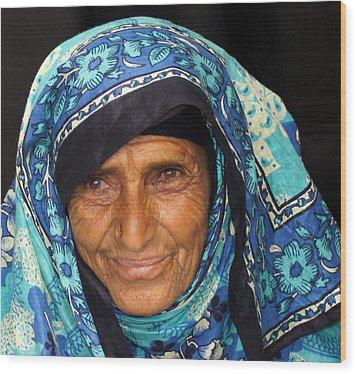 Lady In Blue Wood Print