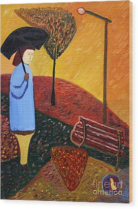 Lady In Blue Wood Print by Vadim Levin