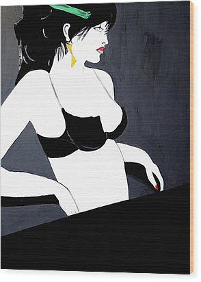 Wood Print featuring the painting Lady In Bra by Nora Shepley