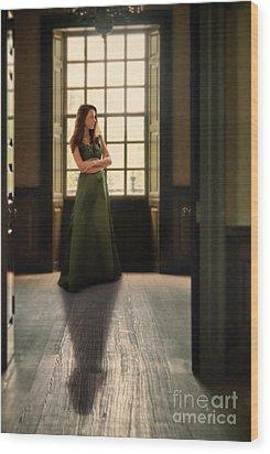 Lady In Green Gown By Window Wood Print by Jill Battaglia