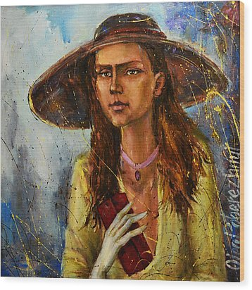 Lady In Hat Wood Print by Oleg  Poberezhnyi