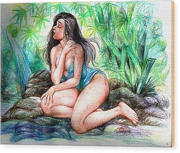 Lady In Lake 2 Wood Print by Manuel Cadag