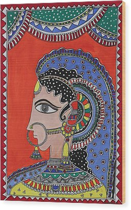 Lady In Ornaments Wood Print by Shakhenabat Kasana