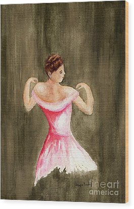 Wood Print featuring the painting Lady In Pink by Tamyra Crossley