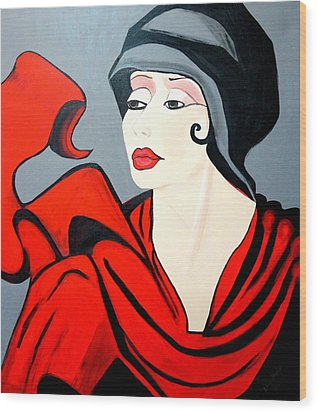 Lady In Red  Art Deco Wood Print