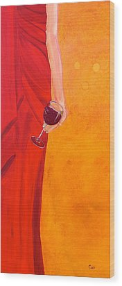 Lady In Red Wood Print by Debi Starr