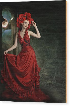 Lady In Red Wood Print by Ester  Rogers