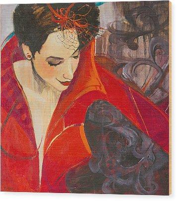 Lady In Red Wood Print by Jennifer Croom