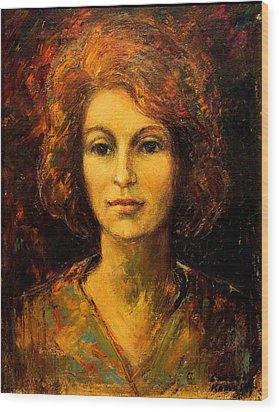 Lady In Red Wood Print by    Michaelalonzo   Kominsky