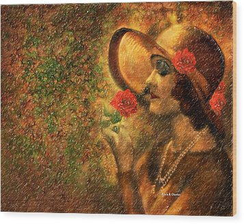Lady In The Flower Garden Wood Print by Angela A Stanton