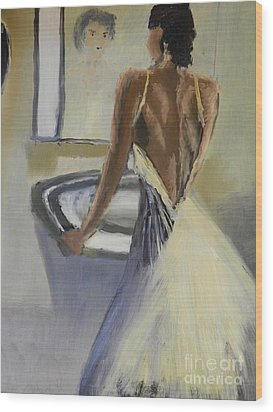 Wood Print featuring the painting Lady In The Mirror by Pamela  Meredith