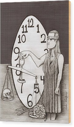 Wood Print featuring the painting Lady Justice And The Handless Clock by Richie Montgomery