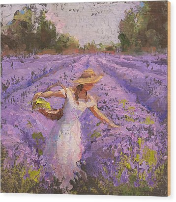 Woman Picking Lavender In A Field In A White Dress - Lady Lavender - Plein Air Painting Wood Print by Karen Whitworth