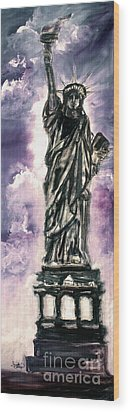Lady Liberty Charcoal And Oil Wood Print by Ginette Callaway
