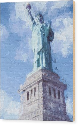 Wood Print featuring the painting Lady Liberty by Ike Krieger