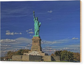 Lady Liberty In New York City Wood Print by Dan Sproul