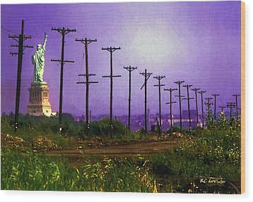 Lady Liberty Lost Wood Print