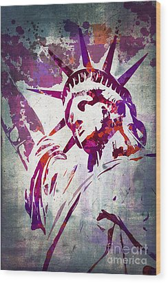 Lady Liberty Watercolor Wood Print by Delphimages Photo Creations