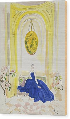 Lady Mendl Wearing A Blue Dress Wood Print by Cecil Beaton