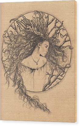 Wood Print featuring the drawing Lady Of The Forest by Tamyra Crossley