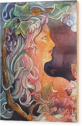 Lady Of The Grapes Wood Print