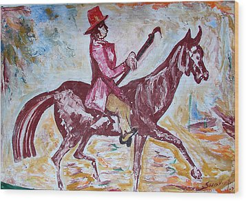 Wood Print featuring the painting Lady On Horse by Anand Swaroop Manchiraju