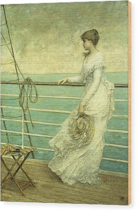 Lady On The Deck Of A Ship  Wood Print by French School