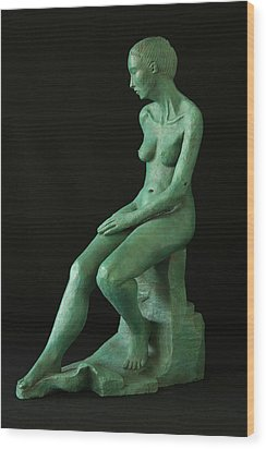 Lady On The Rock Wood Print by Flow Fitzgerald