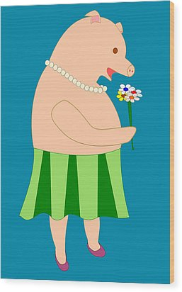 Lady Pig Smelling Flower Wood Print