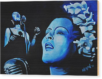 Lady Sings The Blues Wood Print by Ka-Son Reeves