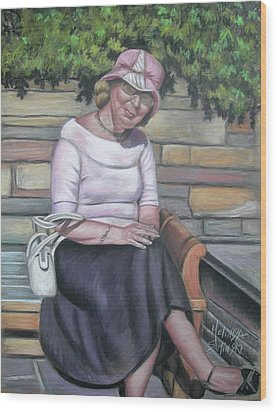 Lady Sitting On A Bench With Pink Hat Wood Print by Melinda Saminski