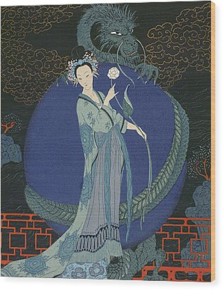 Lady With A Dragon Wood Print by Georges Barbier