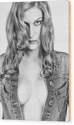 Lady With A Jeans Jacket Wood Print by Ralf Kaiser