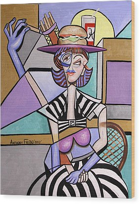 Lady With A Lunch Hat Wood Print by Anthony Falbo