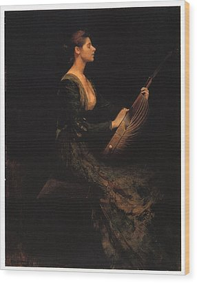Lady With A Lute Wood Print by Thomas Wilmer Dewing