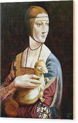 Lady With An Ermine Wood Print