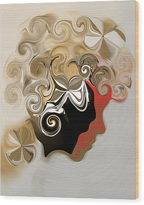 Lady With Curls Wood Print