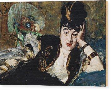 Lady With Fan Portrait Of Marie Anne De Callias Known As Nina De Callias Wood Print by Edouard Manet