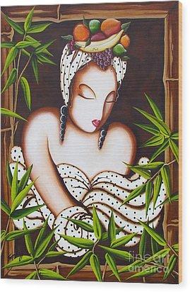 Lady With Fruit Wood Print by Joseph Sonday