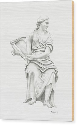 Wood Print featuring the drawing Lady With Harp II by Elizabeth Lock