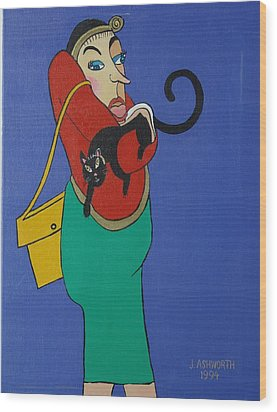 Lady With Independent Cat Wood Print by Janet Ashworth