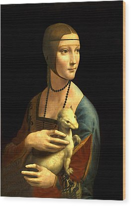 Lady With The Ermine Reproduction Wood Print by Da Vinci