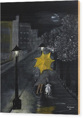 Lady With Yellow Umbrella And White Dog Wood Print