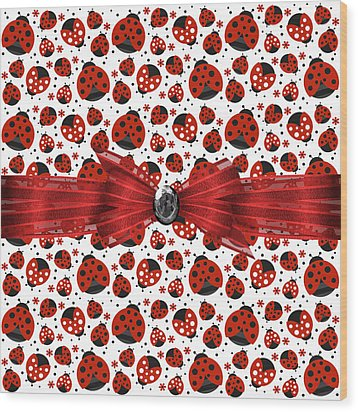Ladybug Obsession  Wood Print by Debra  Miller