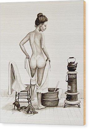 Lady's Bath 1890's Wood Print