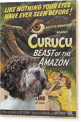 Lagotto Romagnolo Art Canvas Print - Curucu Movie Poster Wood Print