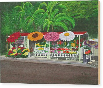 Laguna Beach Flower Stand Wood Print by Mike Robles
